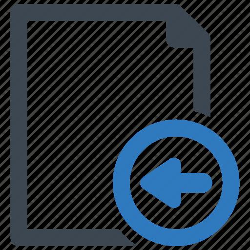 arrow, file, left, page icon