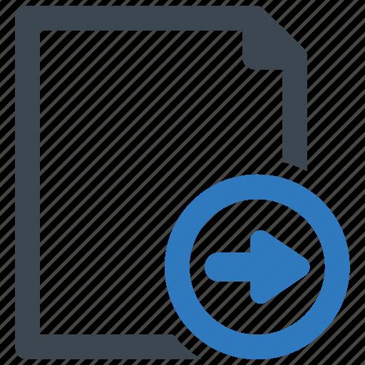arrow, file, page, right icon