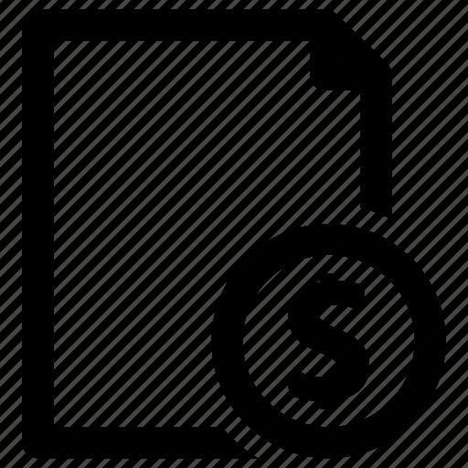 dollar, file, money, page icon