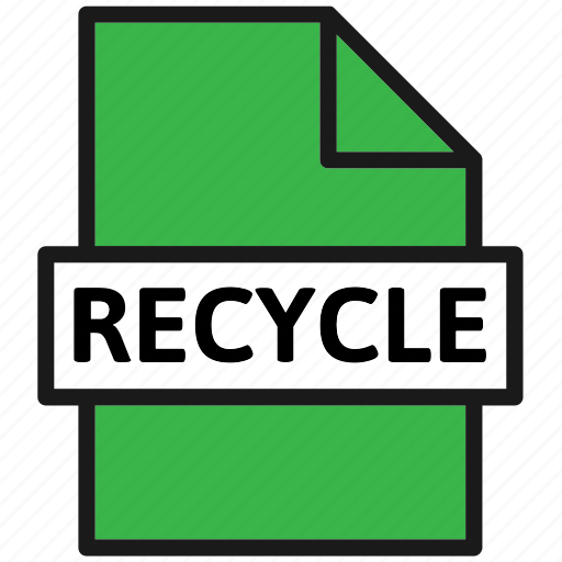 action, document, file, filetype, page, recycle, type icon