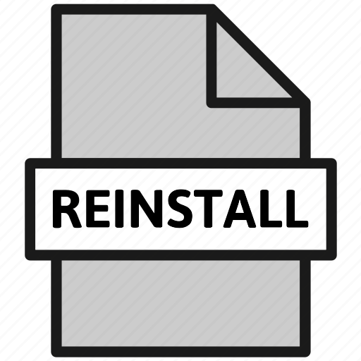 action, document, file, filetype, reinstall, sheet, type icon