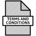 action, document, file, sheet, terms and conditions, type icon