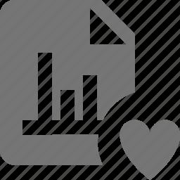 favorite, file, graph, heart, like icon