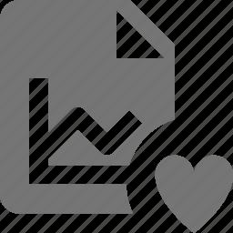 favorite, file, graph, heart icon