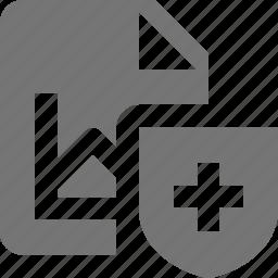 file, graph, security, shield icon