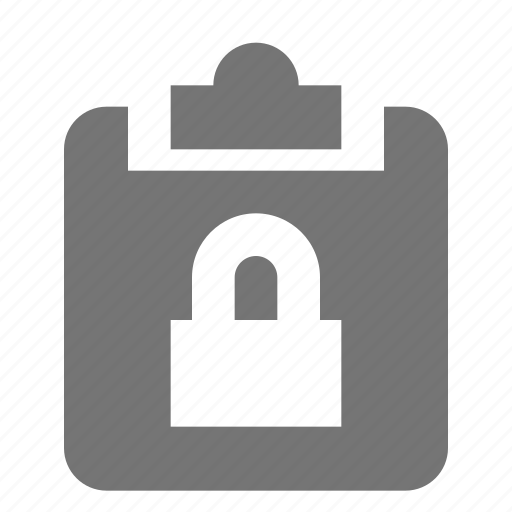 clipboard, lock, padlock, privacy, security, tasks icon