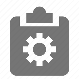 clipboard, configuration, gear, options, settings, tasks icon