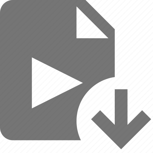 arrow, down, download, file, movie, video icon