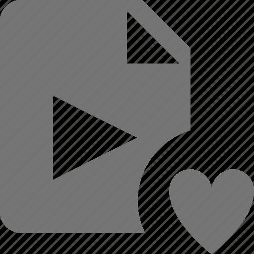 favorite, file, heart, like, movie, video icon