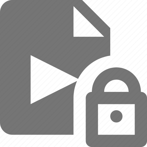 file, lock, movie, security, video icon