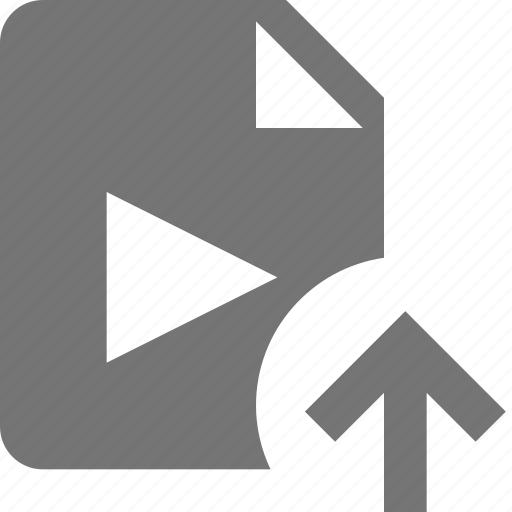 arrow, file, movie, up, upload, video icon