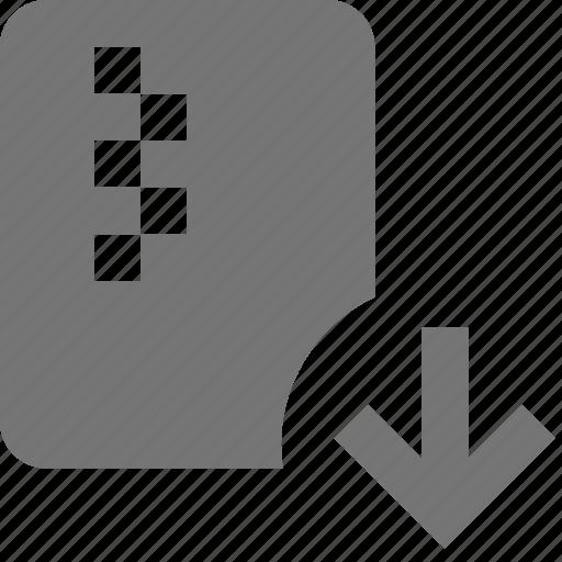 arrow, down, download, file, zipped icon