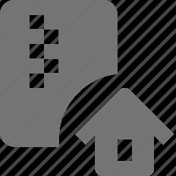 file, home, house, zipped icon