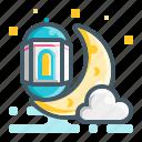 moon, lamp, light, ramadan