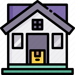 address, delivery, door, home, house, logistics, shipping icon