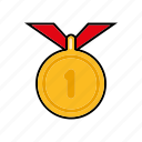 award, equipment, gold, medal, sports, winner icon