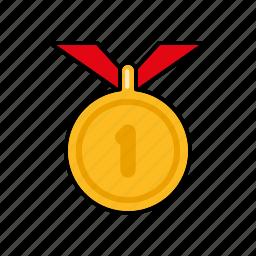 award, equipment, gold, medal, sports, winner icon