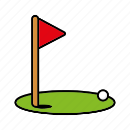 ball, equipment, flag, golf, green, hole, sports icon