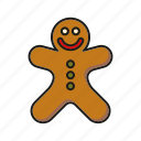 cake, candy, christmas, food, gingerbread man, pastry, sweets icon