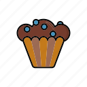 blueberry muffin, cake, cupcake, dessert, food, pastry, sweets icon