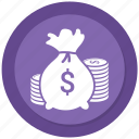 bag, coin, dollar, money icon