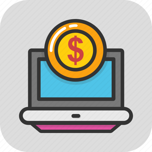 ebanking, ecommerce, finance, laptop, online payment icon