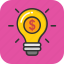 business concept, dollar bulb, financial idea, financial plan, money making icon