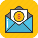 dollar envelope, earnings, financial correspondence, money envelope, payment icon