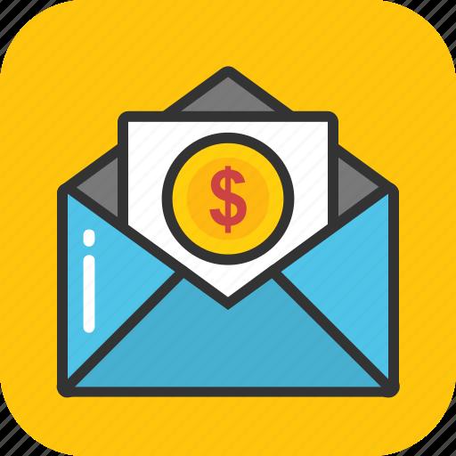 dollar envelope, earnings, financial correspondence, money envelope, payment icon