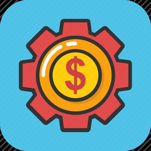 dollar in gear, financial system, monetary fund, money gear, stock exchange icon