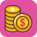 cash, coins pile, currency, dollar coins, money coins icon