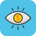 business eye, business focus, dollar eye, marketing vision, seo icon