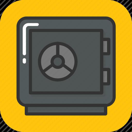 bank deposit box, bank safe, bank vault, cash box, safety deposit icon