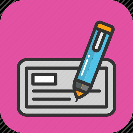banking, check, cheque, pen, signature icon