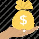 investment, treasure, cash amount, finance, money bag icon