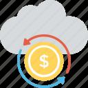financial cloud, money technology, internet trade market, web storage, finance database icon
