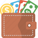 cash, finance, pocket money, saving, wallet with money icon