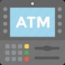 transaction technology, cash machine, atm machine, atm screen, payment terminal icon
