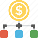 business hierarchy, financial banking, finance network, dollar structure, shared payment icon