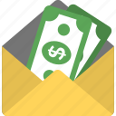 cash in envelope, dollar pack, donation, salary, send money icon