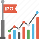 financial analysis, ipo barchart, ipo chart, ipo listing, public offering graph icon