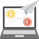 fast web transaction, money transferring, online banking, send money concept, online currency transfer icon