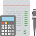 accounting, budget, business finance, invoice calculation, taxation icon