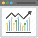 financial statistics, web analytics, seo performance, finance monitoring, growth chart icon