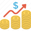 dollar increase, money growth, financial success, profit, stack of coins, growing business icon