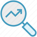 finance, find, graph, magnifier, search, up arrow, view icon