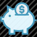 bank, dollar, dollar saving, finance, invest, piggy, piggy bank icon