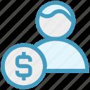 banking, businessman, coin, dollar, finance, money, user icon