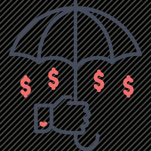 business insurance, coin, insurance, umbrella icon
