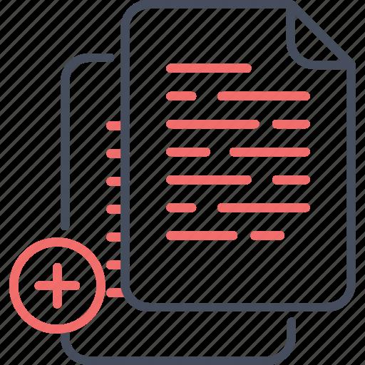add, document, file, finance, paper icon